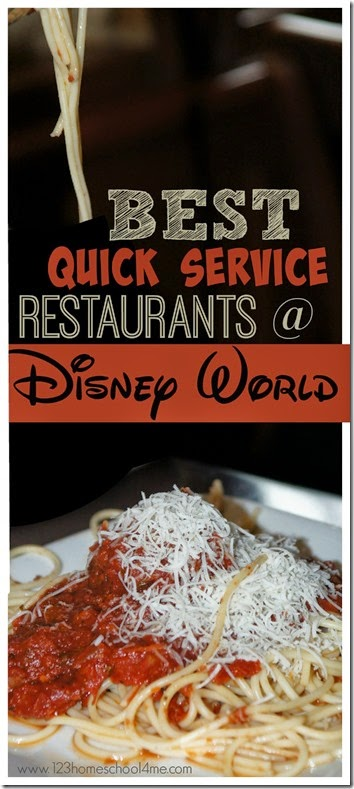 Best Quick Service Restaurants at Disney World - GREAT list!!!  Super helpful for Disney World Planning. Includes top 10 plus the highlights (good and bad) of 40 more quick service restaurants at Magic Kingdom, Epcot, Hollywood Studios, and Animal Kingdom.