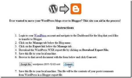 da wordpress a blogger