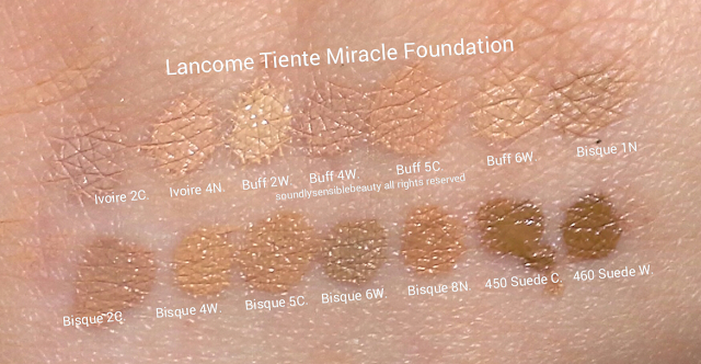 Lancome Tient Miracle Foundation Swatches of Shades & Review; Ivoire 2C, Ivoire 4N, Buff 2W, Buff 4W, Buff 5C, Buff 6W, Bisque 1N, Bisque 2C, Bisque 4W, Bisque 5C, Bisque 6W, Bisque 8N, 450 Suede C, 460 Suede W,