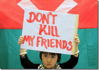 Kachin child protesting
