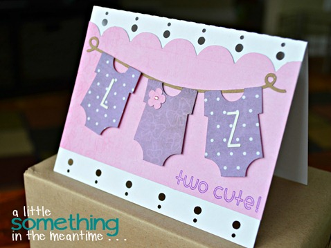 A Little Something in the Meantime - Baby Card for Twins Using Silhouette Cameo
