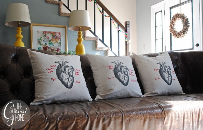 DIY Personalized Vintage Heart Pillow | www.thegatheredhome.com