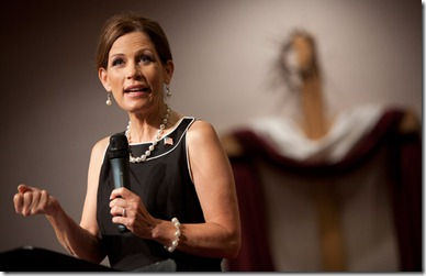 Michele Bachmann preaching, picture by Brendan Hoffman