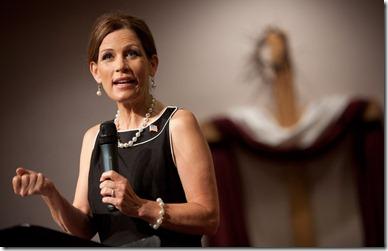 Michele Bachmann preaching, picture by Brendan Hoffman