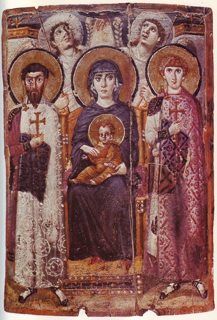 Icon of the enthroned Virgin and Child with saints and angels 6th century