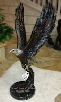 Bronze Statuary, Table-Top Size Eagle Sculpture with Wings Up