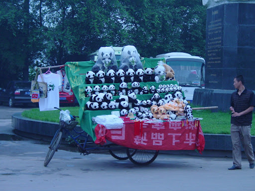 Bike set up as a sales display outside the panda reserve in Chengdu