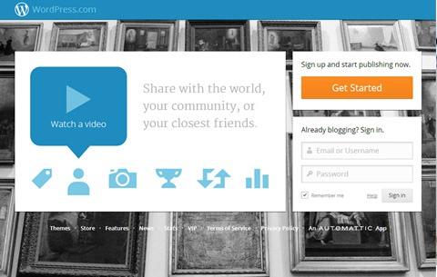 Página de inicio de WordPress