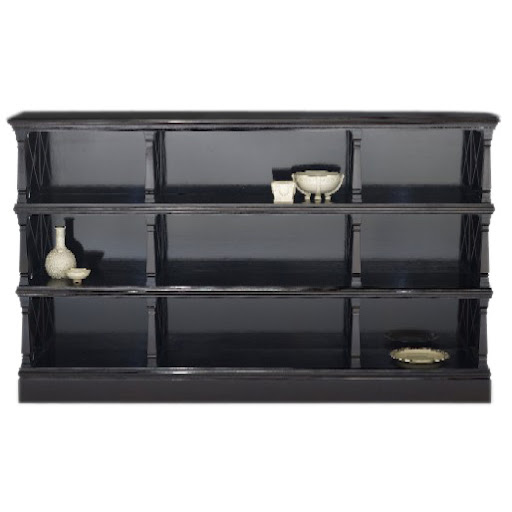 A three tier ebonized bookcase would look great in my dining area - but I may go with a console instead.
