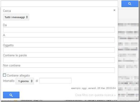 Opzioni di ricerca Gmail