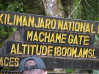 Start of the Machame route 1800 Meters.