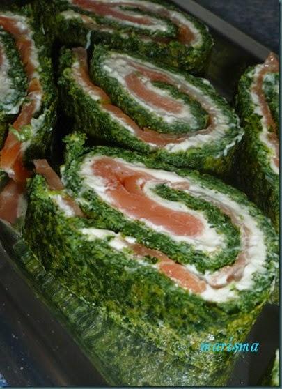 rollo de espinacas y salmón,ración copia