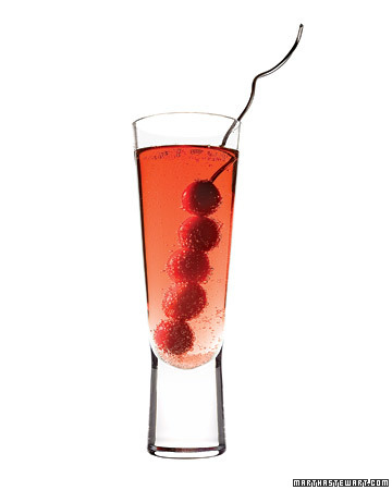 Berry Little Cocktail: Have yourself a Berry Little Cocktail. Stir up this light, bright drink with the tang of citrus and a splash of Champagne to add a festive fizz to your holiday bash.