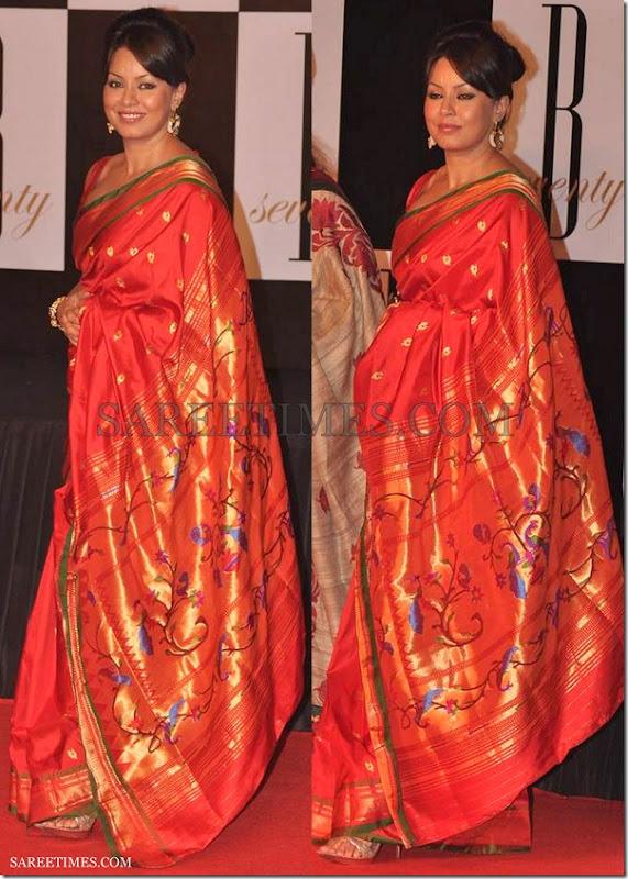 Mahima_Chaudhary_Red_Silk_Saree