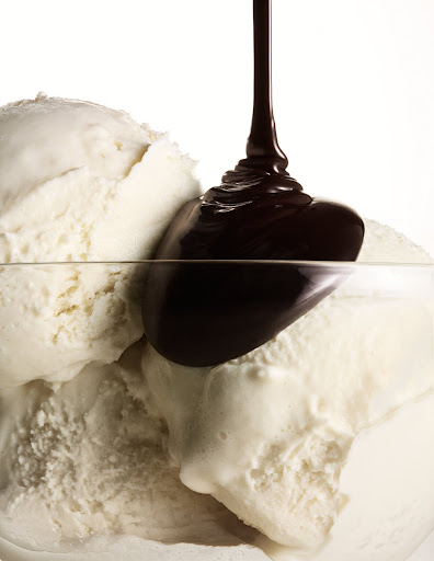 Hot fudge over vanilla ice cream. (Martha Stewart Living)