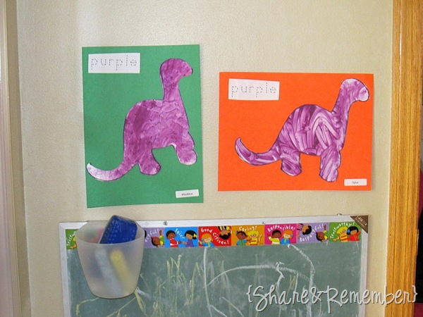 Learning About Dinosaurs painting purple dinosaurs