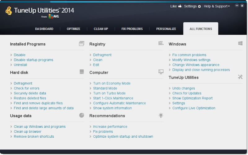 tuneup utilities functions screenshot