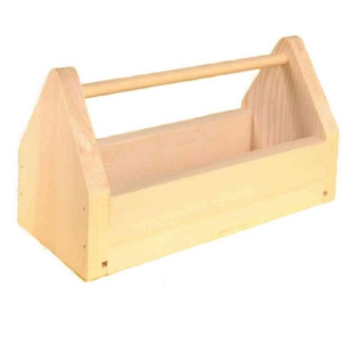 This simple wooden tool kit is a classic way to package your gift. You can even paint it a fun color to match their exterior or door. (homedepot.com)