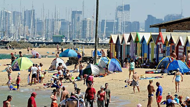 Melbourne residents escape the record heat on the beach, 11 March 2013. Photo: Sydney Morning Herald