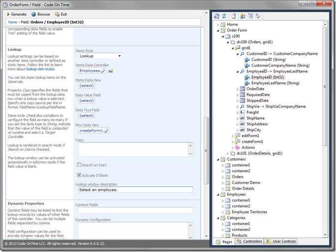 EmployeeID Lookup configuration in Code On Time Designer