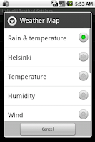 Screenshot of Helsinki Testbed Weather View