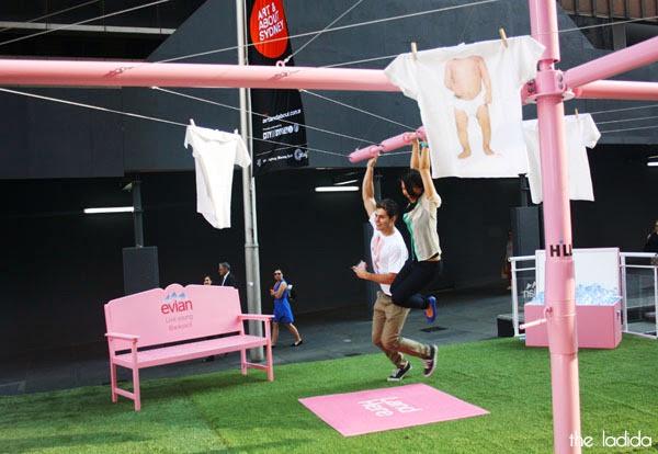 evian Live Young Backyard - Martin Place, Sydney - Giant Pink Hills Hoist (4)