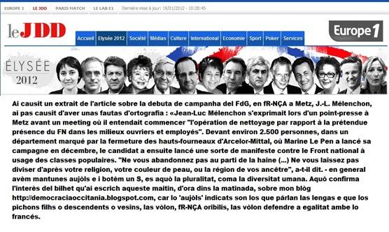 article del JDD JL Mélenchon a Metz