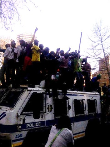 ANCYL hijacks police casspir Luthuli House Siege Aug302011