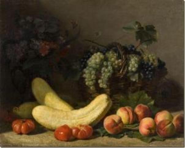 Jacques Delanoy, Nature morte aux pêches, tomates, raisins et courges