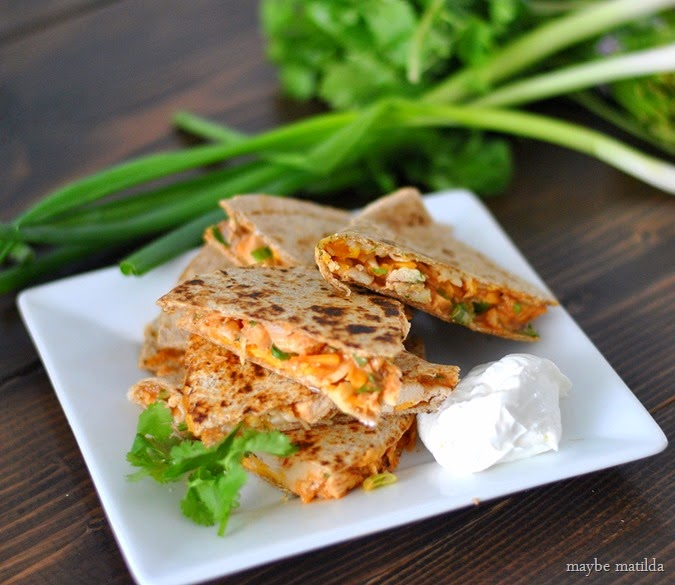 BBQ Turkey Quesadillas -- quick, tasty meal to use up leftover turkey (or chicken)!