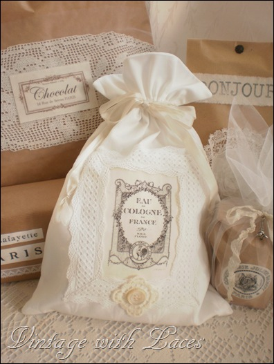 Fabric Gift Bag with Fench Label by Vintage with Laces