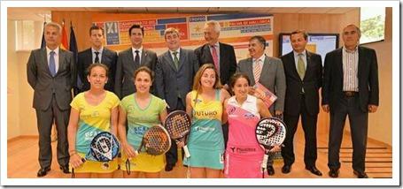 Las jugadoras profesionales LLaguno, Amatriain, Salazar y Montes en la imagen.