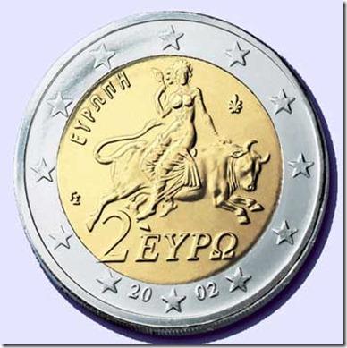 Mulher montada na besta - moeda de 2 euros