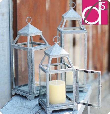tall silver lantern
