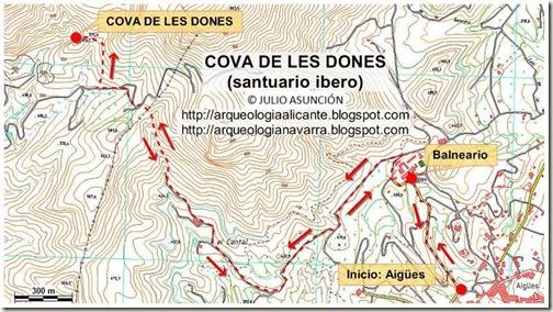 Mapa Cova de Les Dones - Santuario ibero