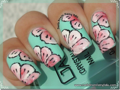 one stroke pink flowers