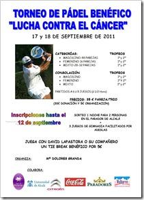 """Juega el II Torneo Pádel """"Lucha contra el cáncer"""" en la UAH 17-18 septiembre de 2011."""