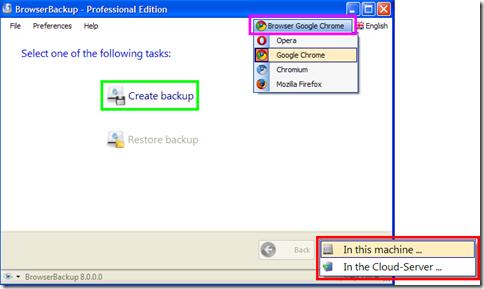 BrowserBackup Pro indicare il browser per il quale creare il backup