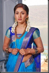 manjari in blue saree