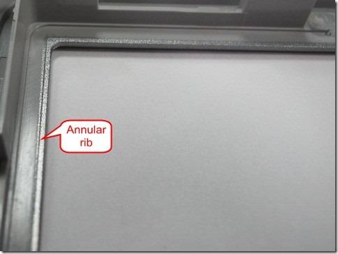 Annular rib design for LCM gasket/cushion