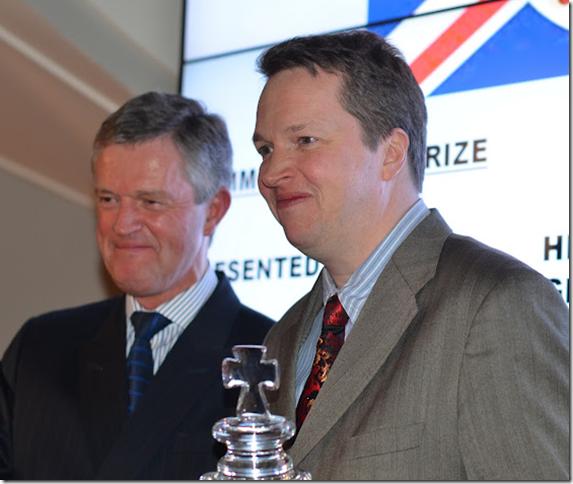 Nigel Short receives his trophy