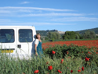 Antonia in a poppy field.