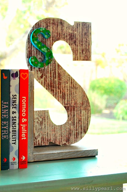 woodland monogram bookends