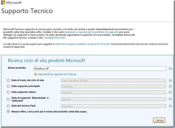 Ricerca ciclo di vita prodotti Microsoft