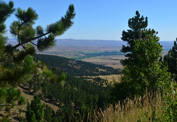 view west toward Dayton from the Big Horn Mountains Scenic Byway 14