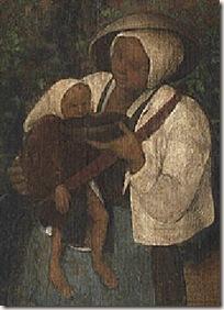 Mujer dando de beber a su hijo - El vino de la fiesta de San Martín