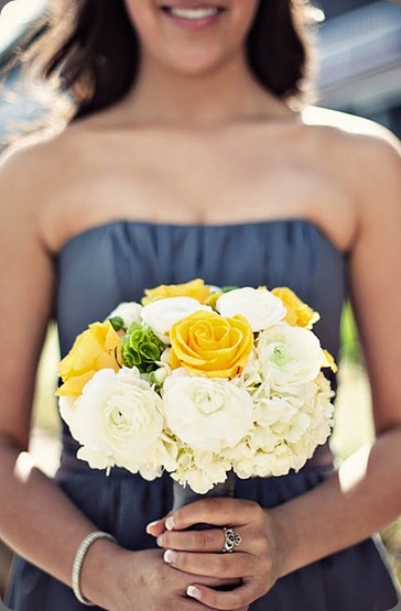 modern beach wedding pewter and yellow bouquets heavenly blooms