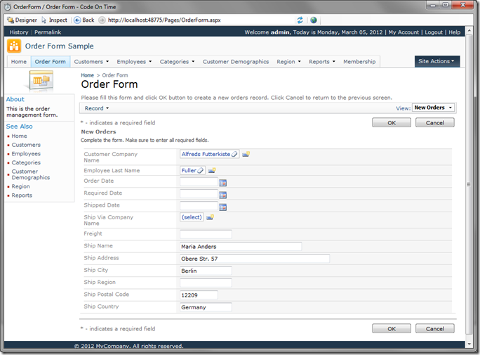 New Order Form in Code On Time Preview