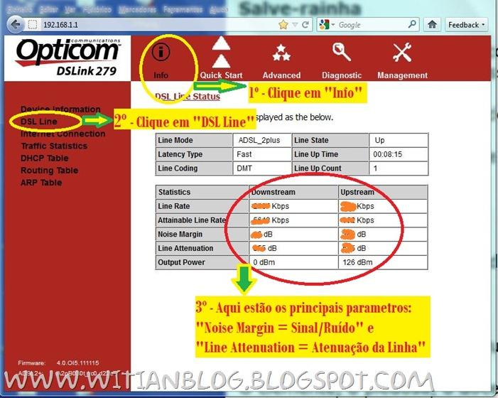 Configurando e roteando o modem roteador OPTICOM DSLink 279 para conectar automaticamente na internet VELOX - 3 - witian blog