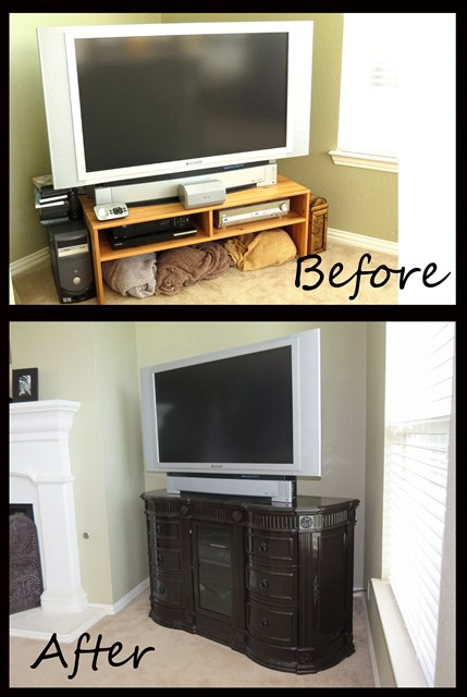 Style with Cents Dresser TV Stand Renovation www.stylewithcents.blogspot.com    Before and After